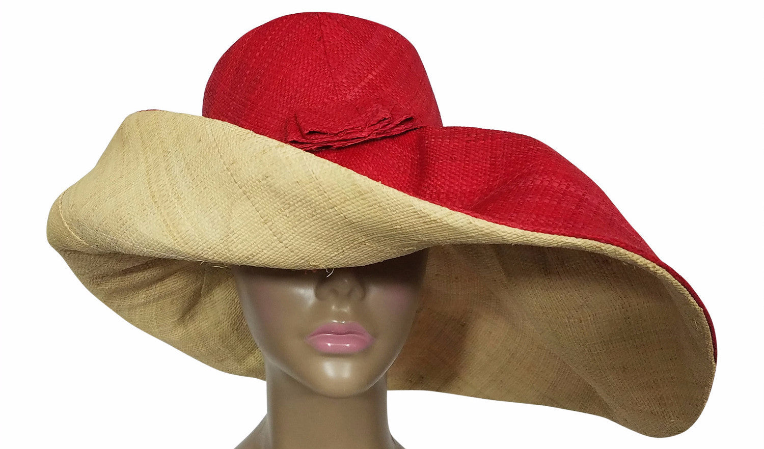 Zalika: Authentic African Hand Made Red and Natural Madagascar Big Brim Raffia Sun Hat
