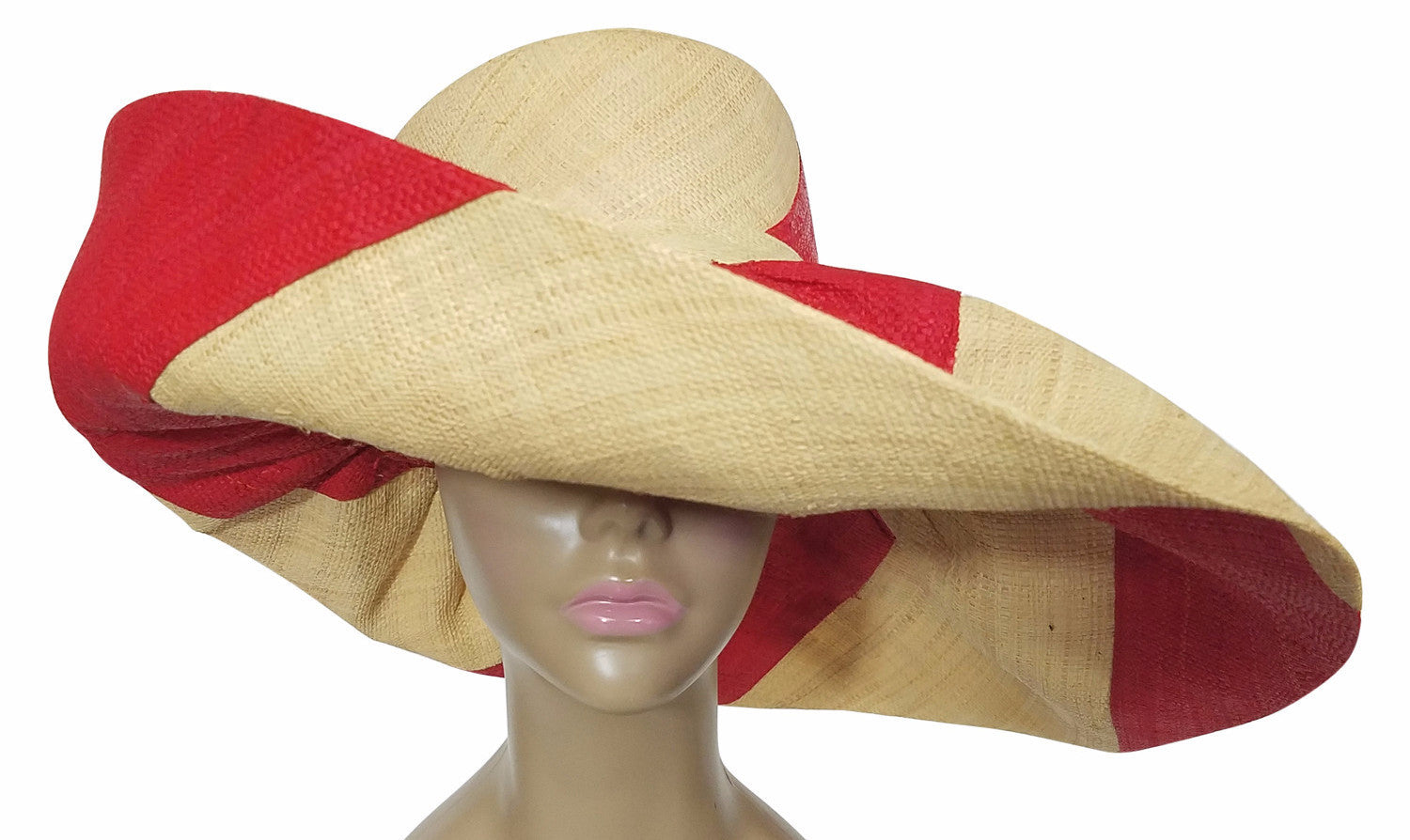 Yamina: Authentic African Hand Made Red & Natural Swirl Madagascar Big Brim Raffia Sun Hat