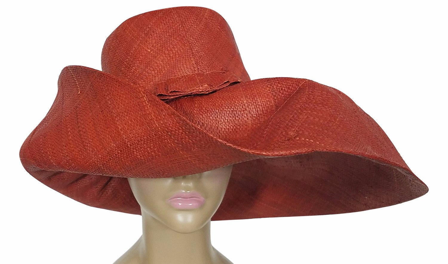 Zuwena: Authentic African Hand Made Burnt Orange Madagascar Big Brim Raffia Sun Hat