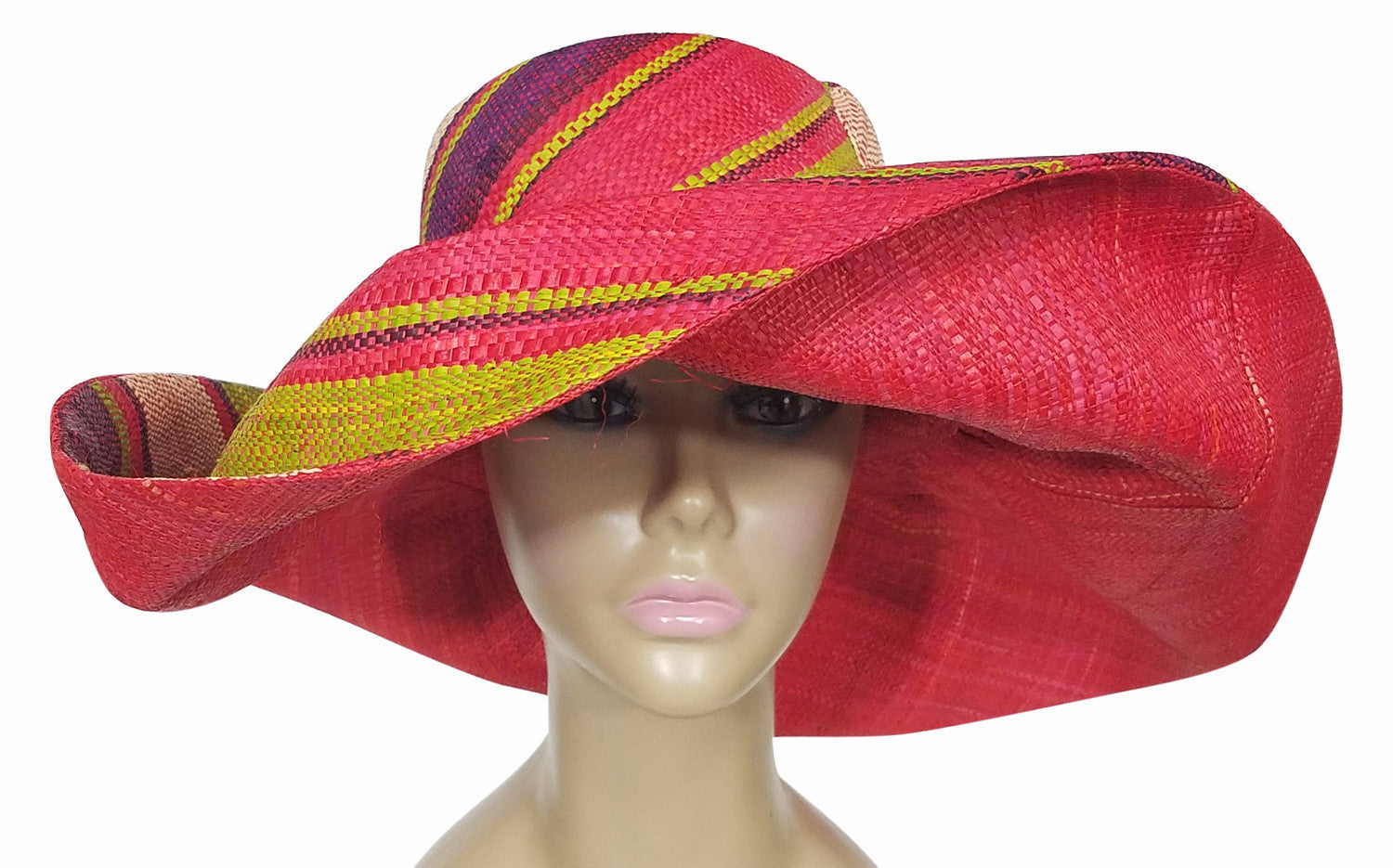 Zesiro: Authentic African Hand Made Multi-Colored Madagascar Big Brim Raffia Sun Hat