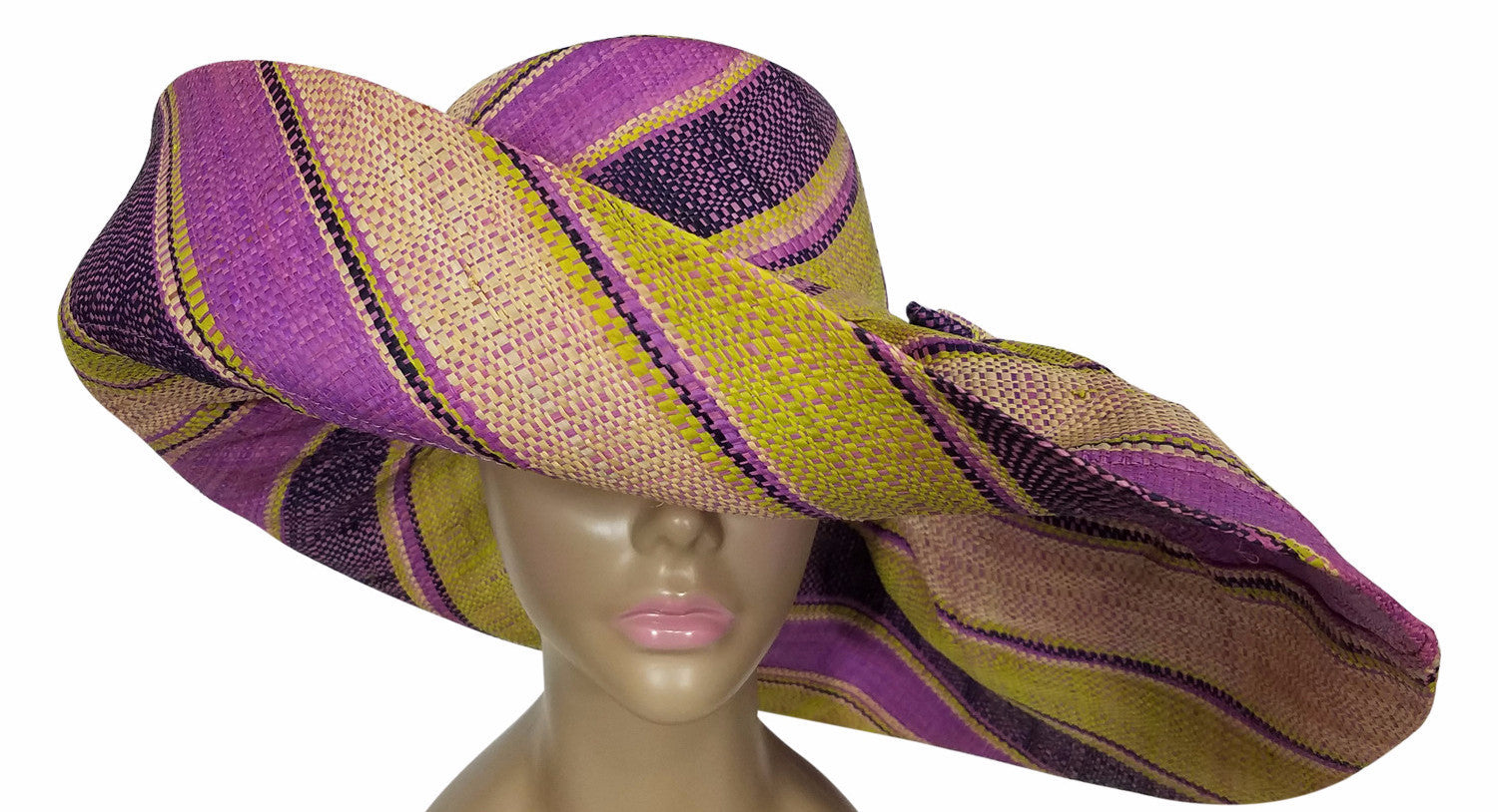 Cher: Authentic African Hand Made Muti-Colored Madagascar Big Brim Raffia Sun Hat