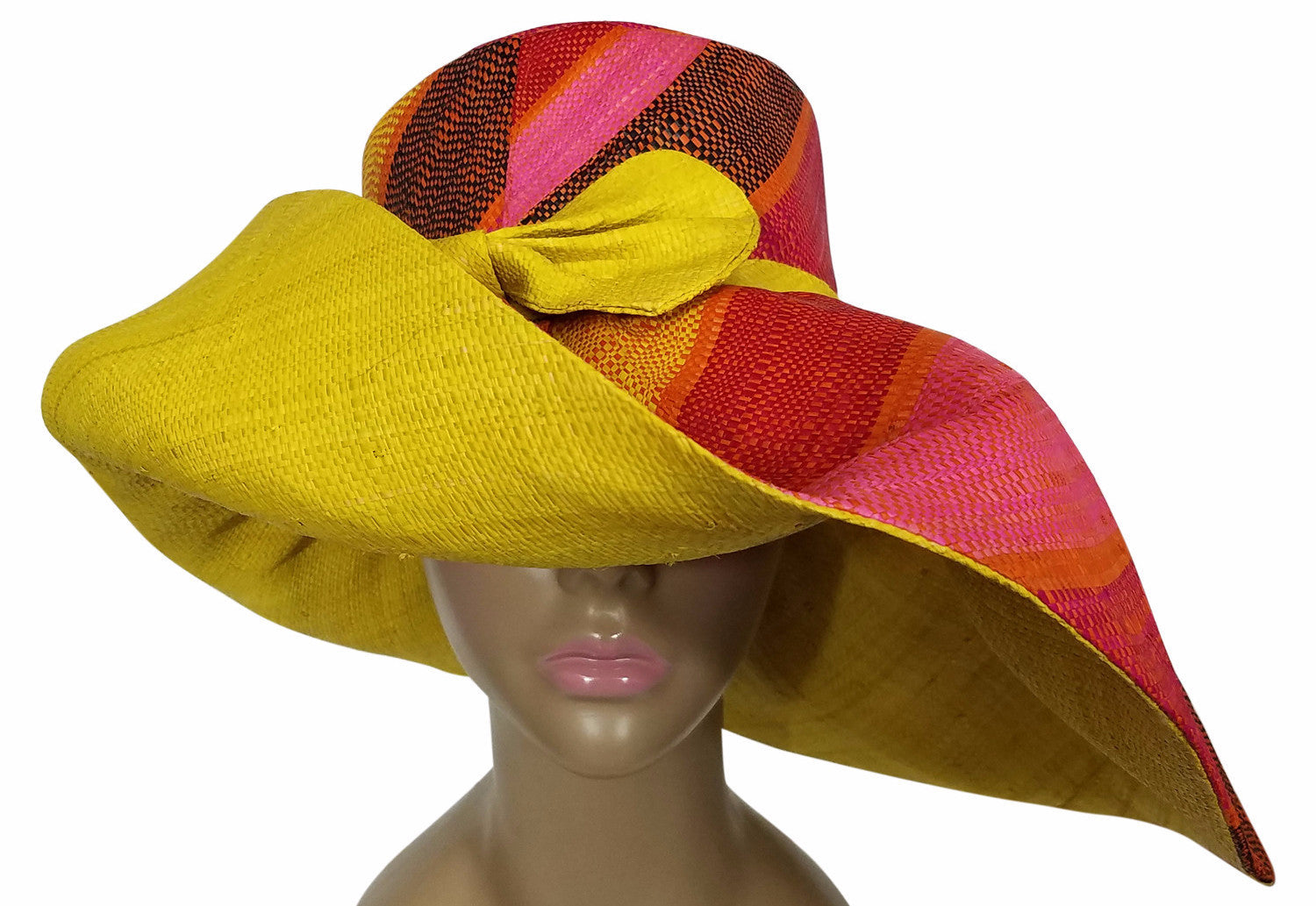 Yejide: Authentic African Hand Made Multi-Colored Madagascar Big Brim Raffia Sun Hat