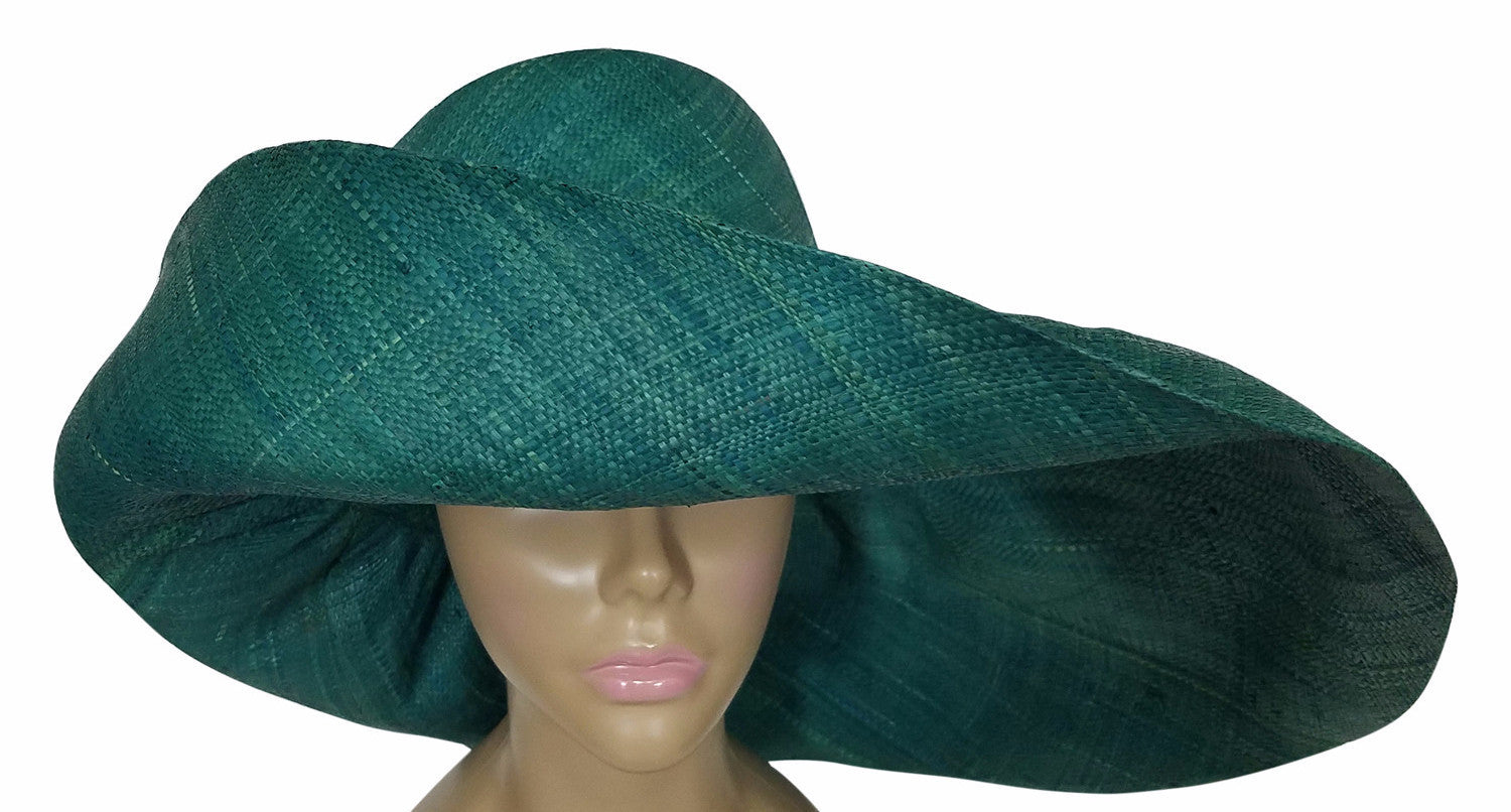 3c07116b Zara: Authentic African Hand Made Teal Madagascar Big Brim Raffia Sun Hat