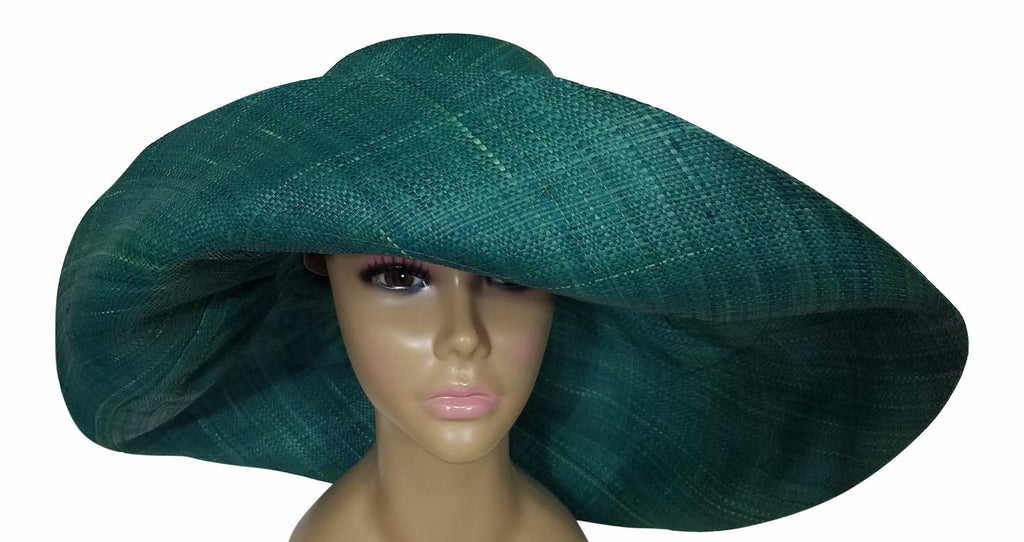 2d79e7c2 ... Zara: Authentic African Hand Made Teal Madagascar Big Brim Raffia Sun  Hat ...