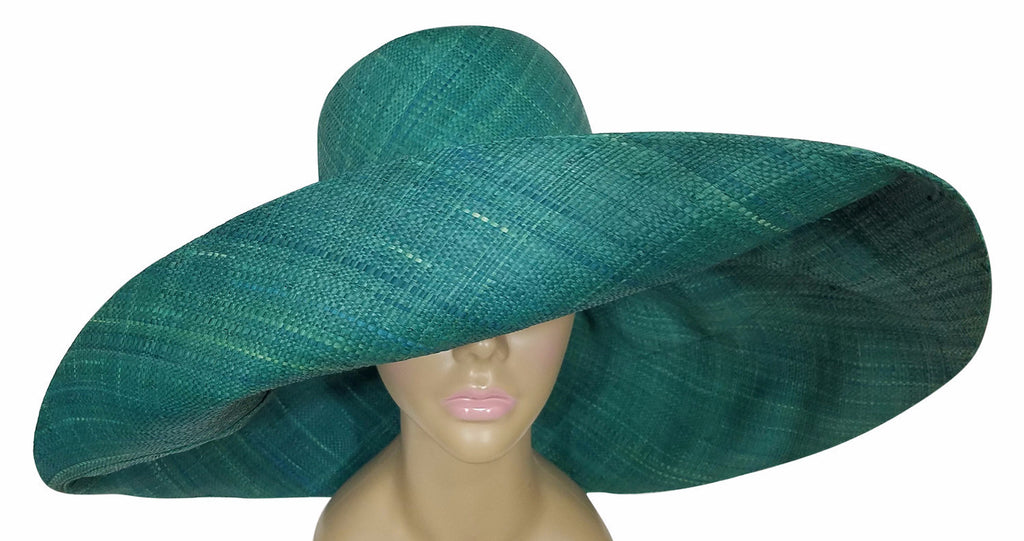 aa7fbbd4 ... Zara: Authentic African Hand Made Teal Madagascar Big Brim Raffia Sun  Hat