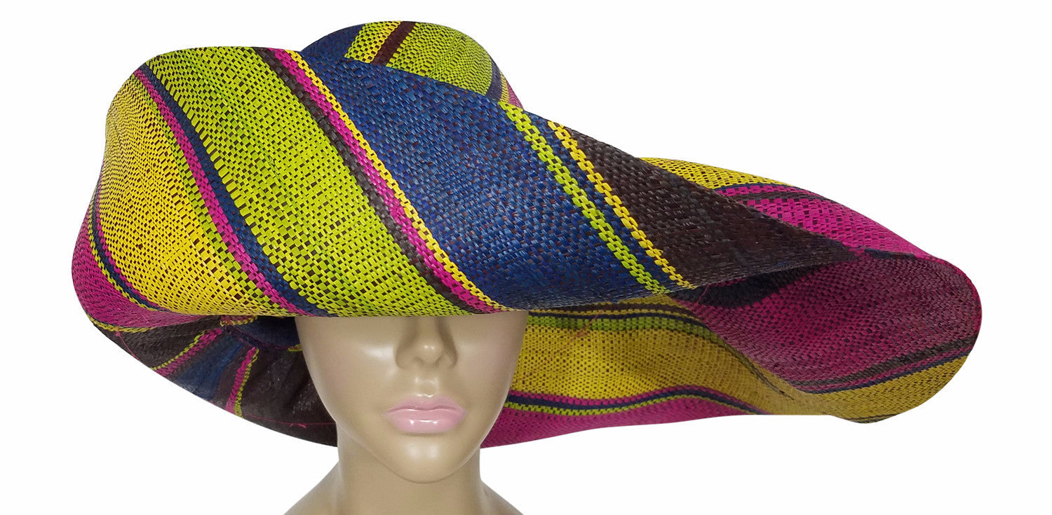 Zaklina: Authentic African Hand Made Multi-Colored Madagascar Big Brim Raffia Sun Hat