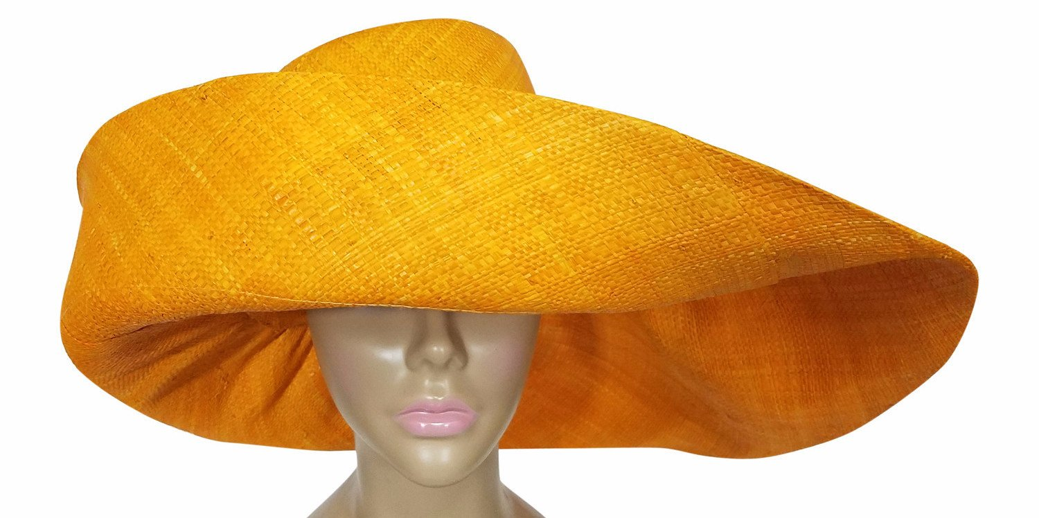 Urbi: Authentic African Hand Made Merigold Madagascar Big Brim Raffia Sun Hat