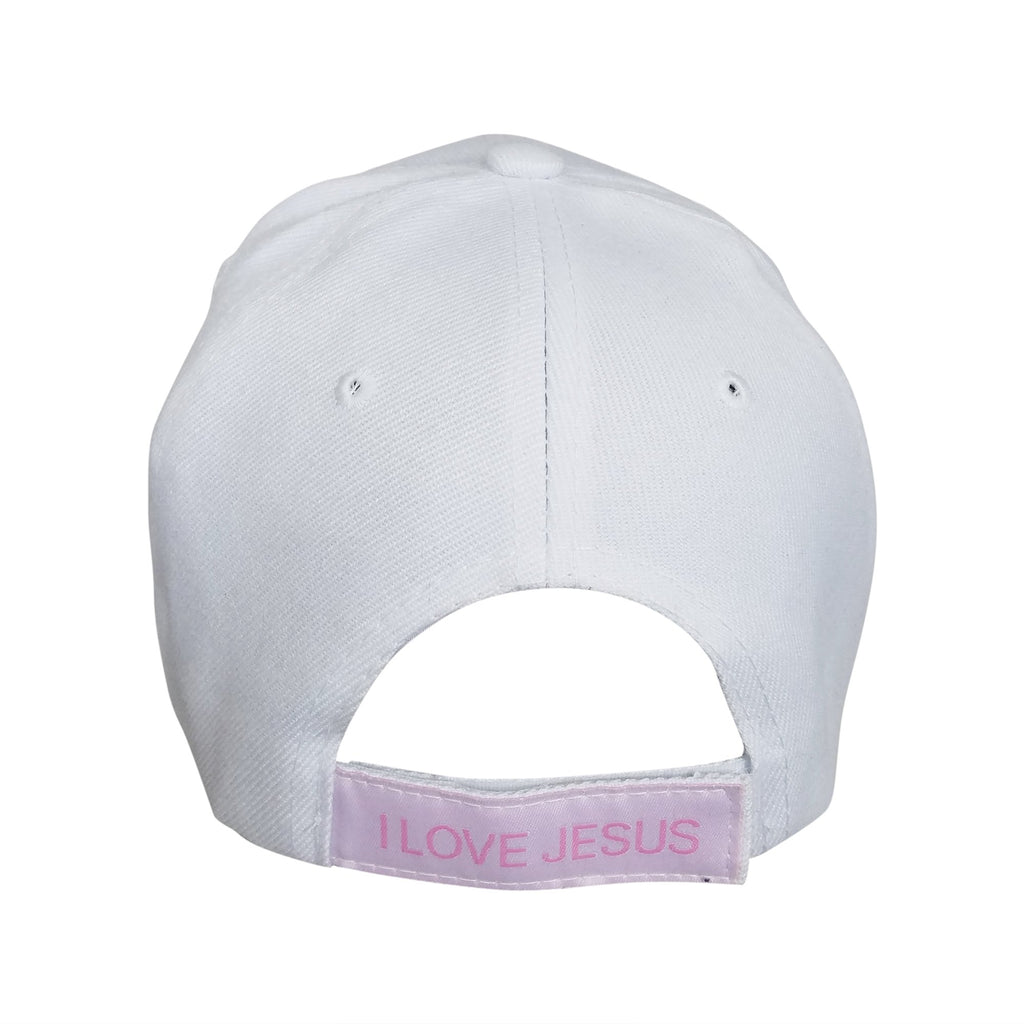 bb861957dbc ... Woman of Faith  I Love Jesus Adjustable Women s Baseball Cap (White) ...