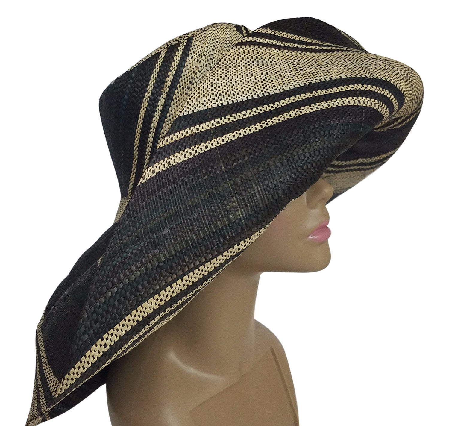 Efua: Authentic African Hand Made Black and Natural Madagascar Big Brim Raffia Sun Hat