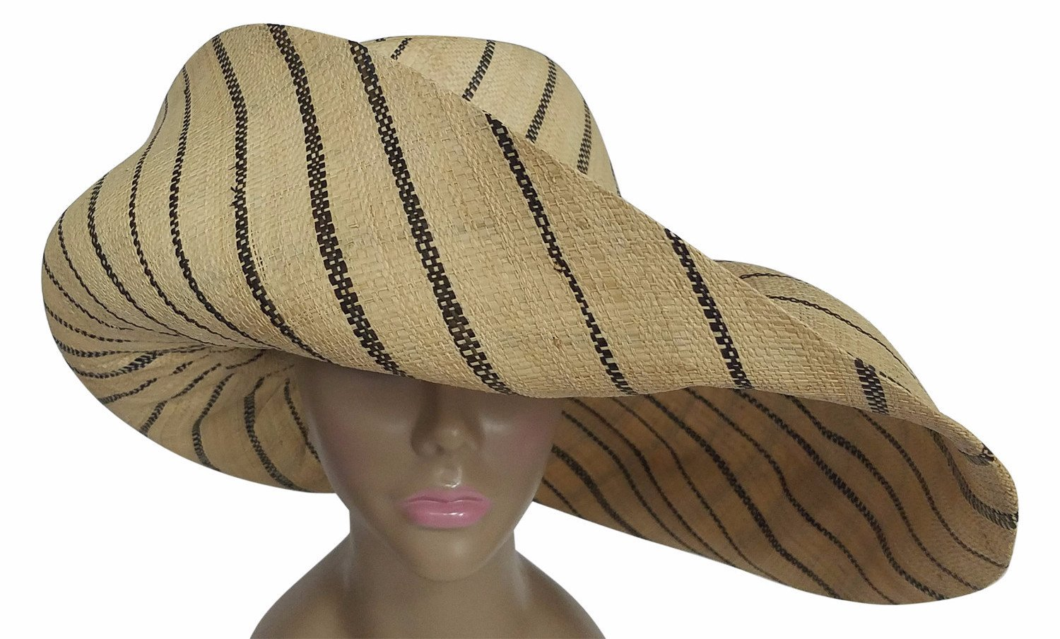 Dubaku: Authentic African Hand Made Black and Natural Madagascar Big Brim Raffia Sun Hat