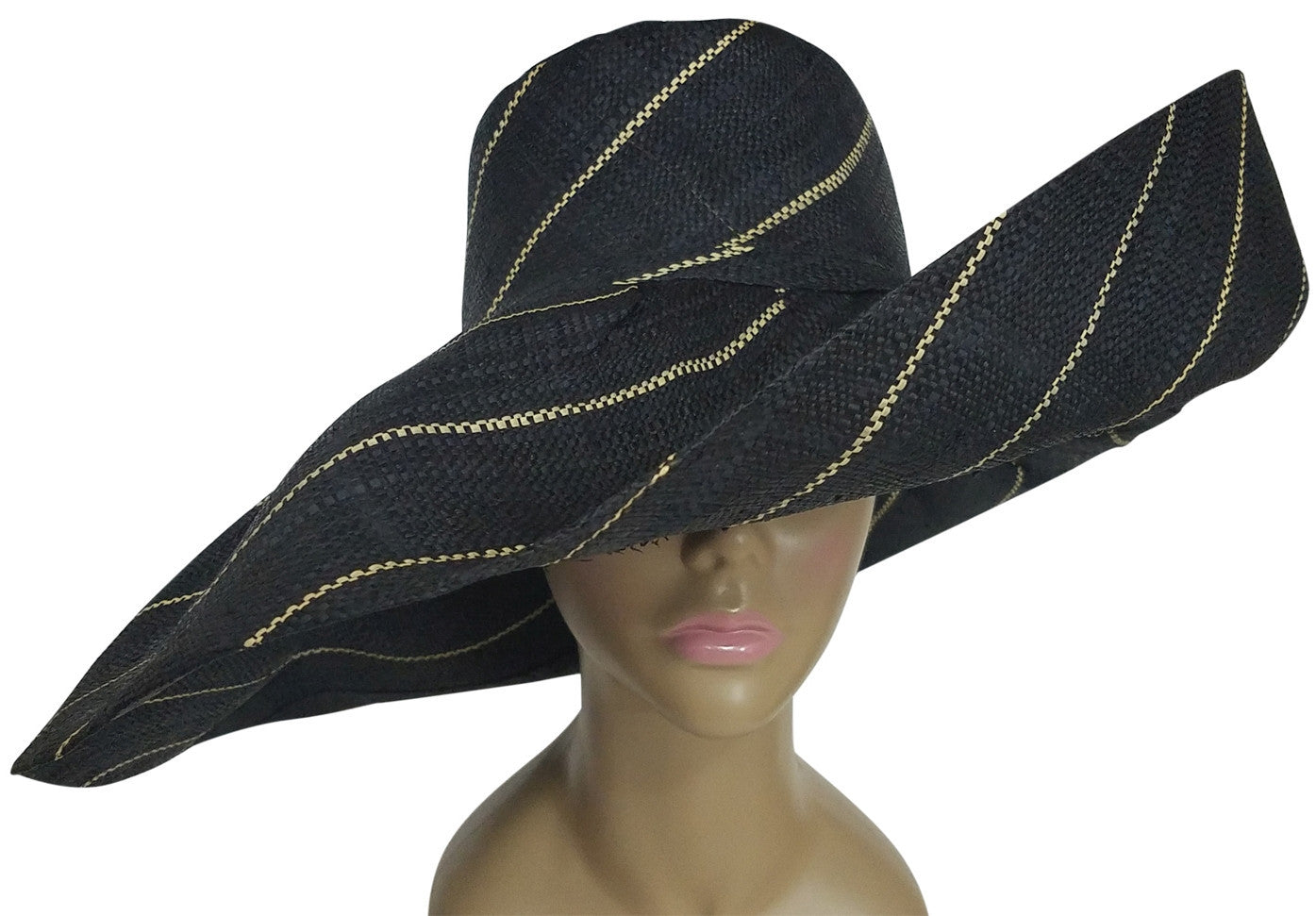 Enomwoyi: Authentic African Hand Made Black and Natural Madagascar Big Brim Raffia Sun Hats