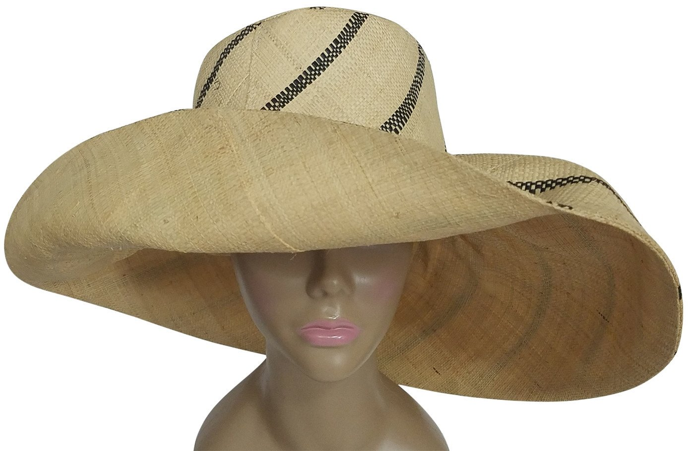 Enyonyam: Authentic African Hand Made Black and Natural Madagascar Big Brim Raffia Sun Hat
