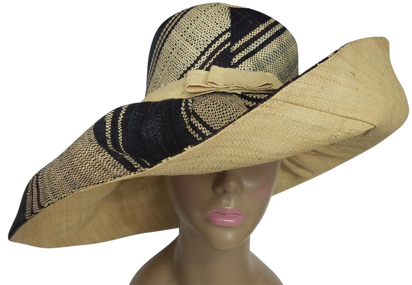Esi: Authentic African Hand Made Black and Natural Madagascar Big Brim Raffia Sun Hats