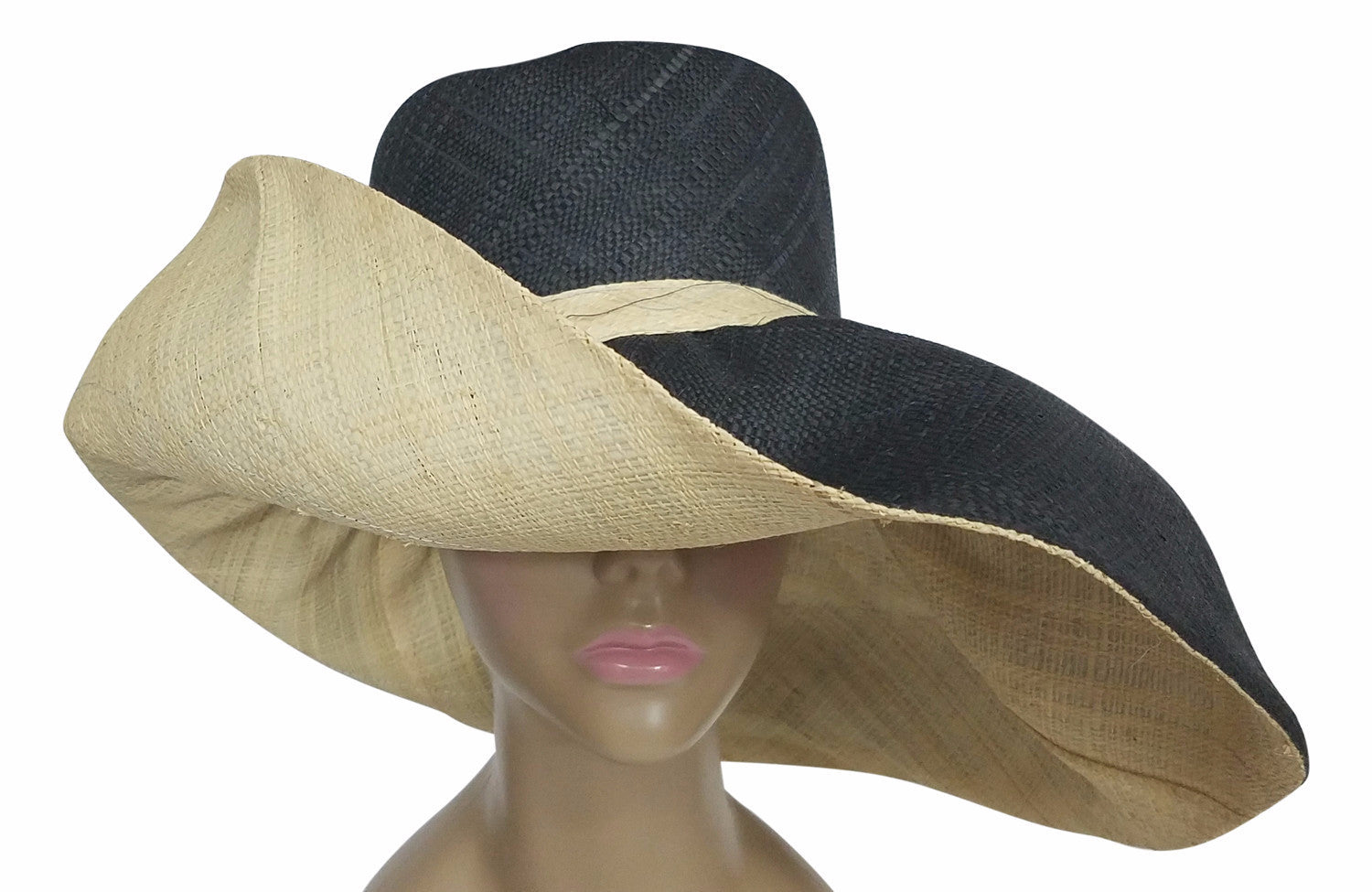 Baako: Authentic African Hand Made Black and Natural Madagascar Big Brim Raffia Sun Hat