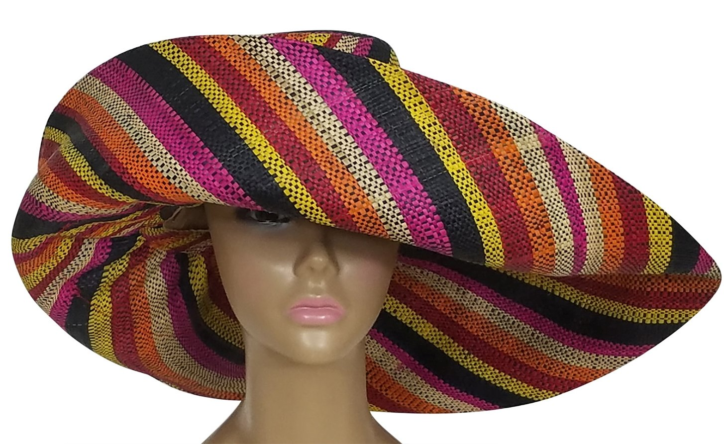 Ayoola: Authentic African Hand Woven Multi-Color Madagascar Raffia Big Brim Sun