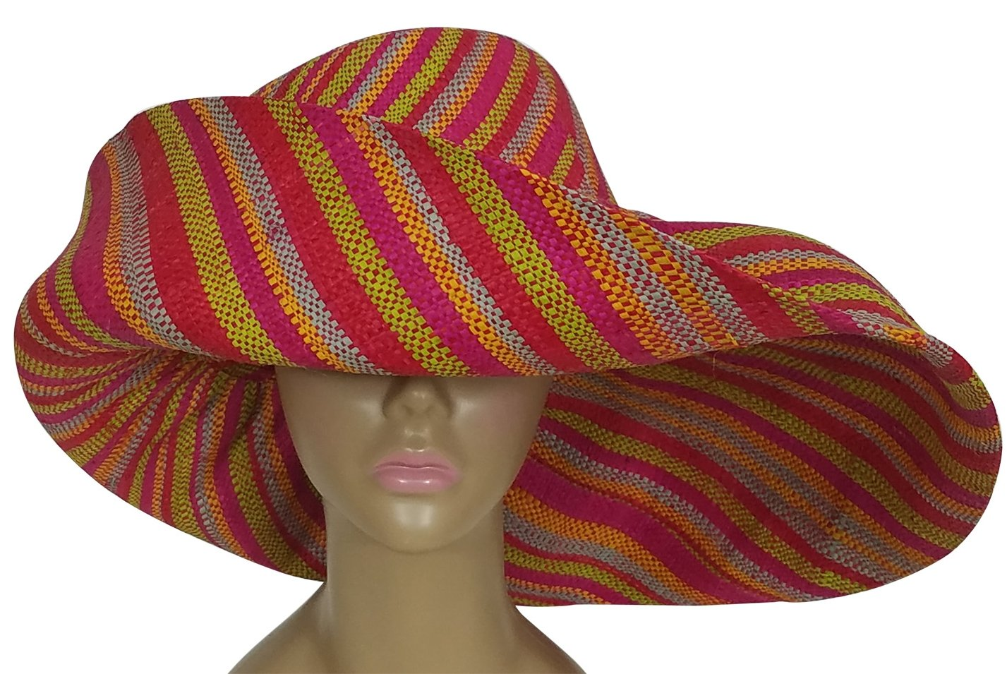 Ayoluwa: Authentic African Hand Woven Multi-Color Madagascar Raffia Big Brim Sun Hat