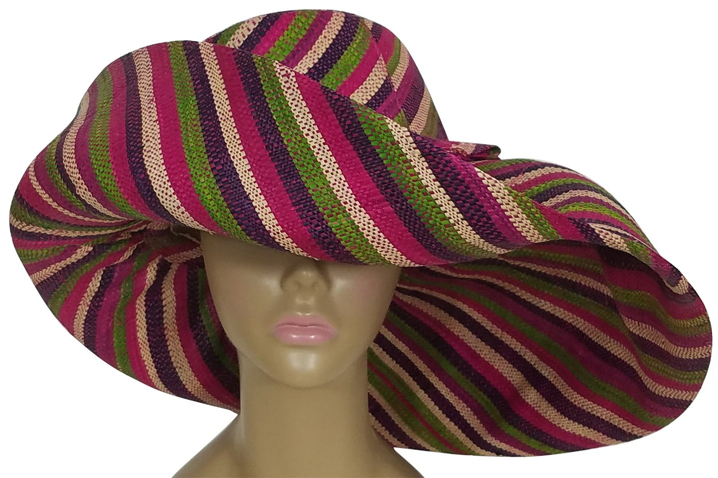 Ayofemi: Authentic African Hand Woven Multi-Color Madagascar Raffia Big Brim Sun Hat