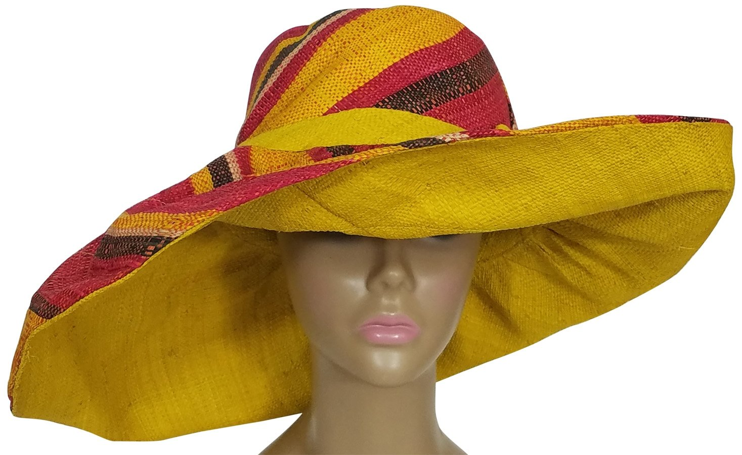 Ayobami: Authentic African Hand Woven Multi-Color Madagascar Raffia Big Brim Sun Hat