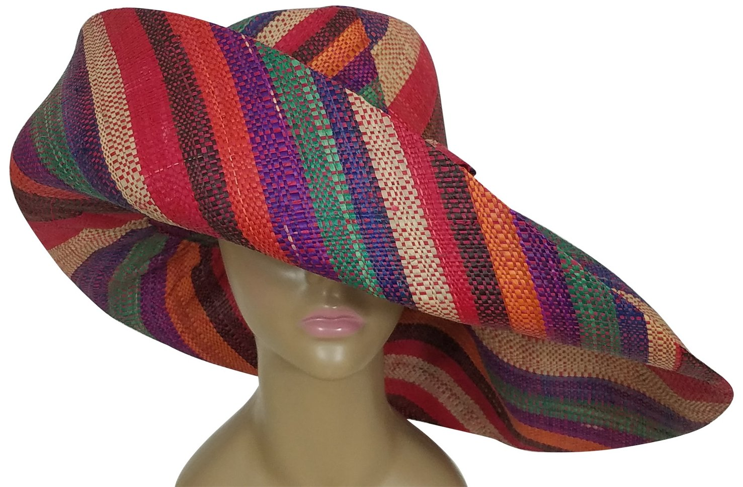 Asabi: Authentic African Hand Woven Multi-Color Madagascar Raffia Big Brim Sun Hat