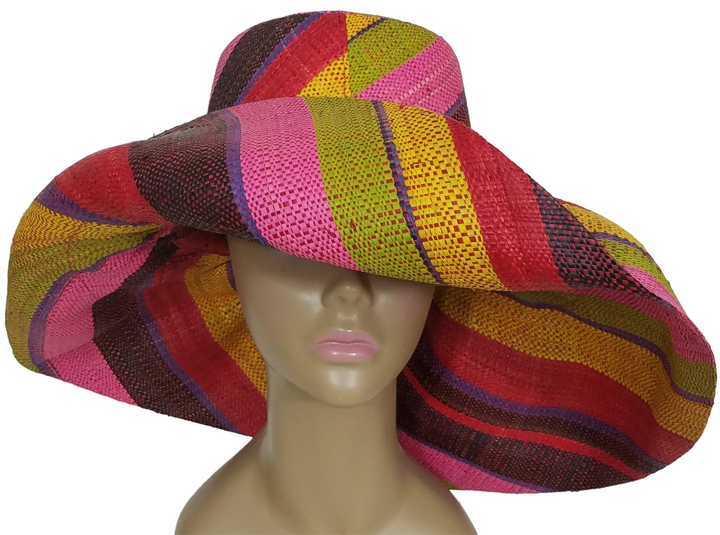 Alaba: Authentic African Hand Woven Multi-Color Madagascar Raffia Big Brim Sun Hat