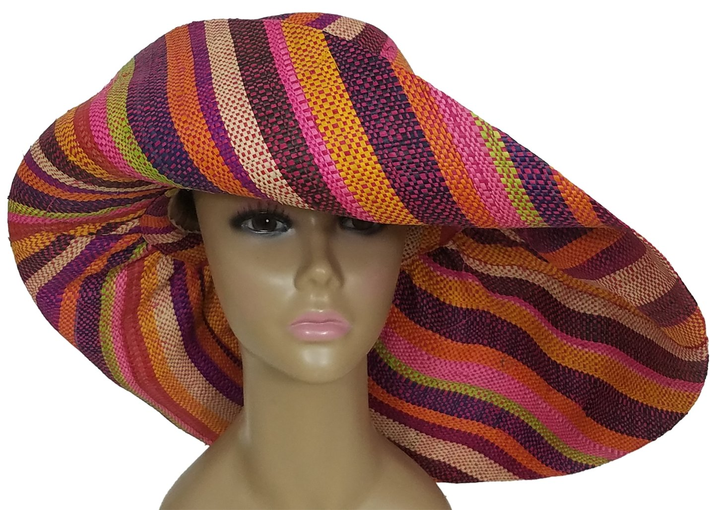 Akwokwo: Authentic African Hand Woven Multi-Color Madagascar Raffia Big Brim Sun Hat