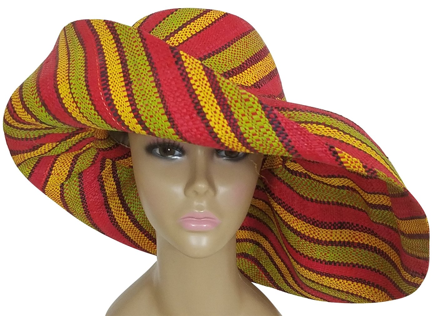 Amadi: Authentic African Hand Woven Multi-Color Madagascar Raffia Big Brim Sun Hat