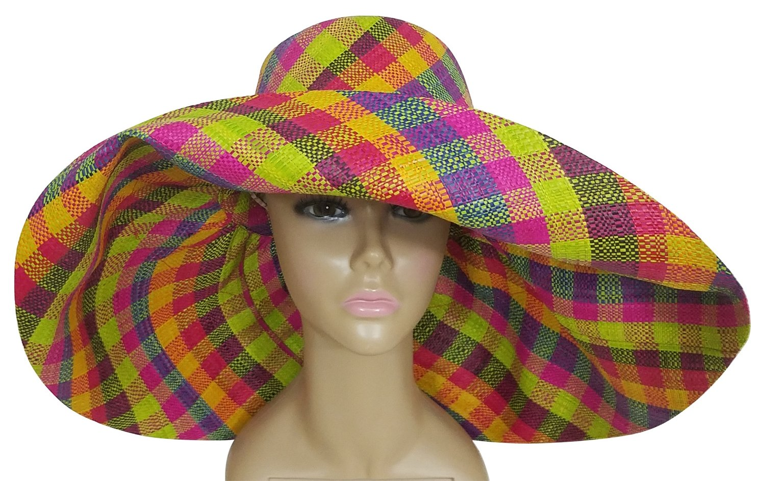 Ayobunmi: Authentic African Hand Woven Multi-Color Madagascar Raffia Big Brim Sun Hat