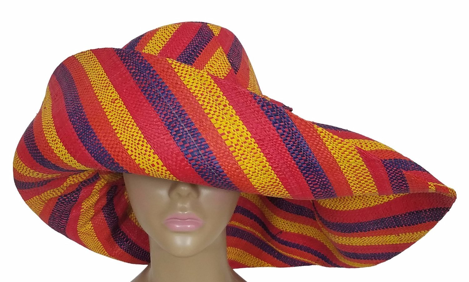 Akua: Authentic African Hand Woven Multi-Color Madagascar Raffia Big Brim Sun Hat