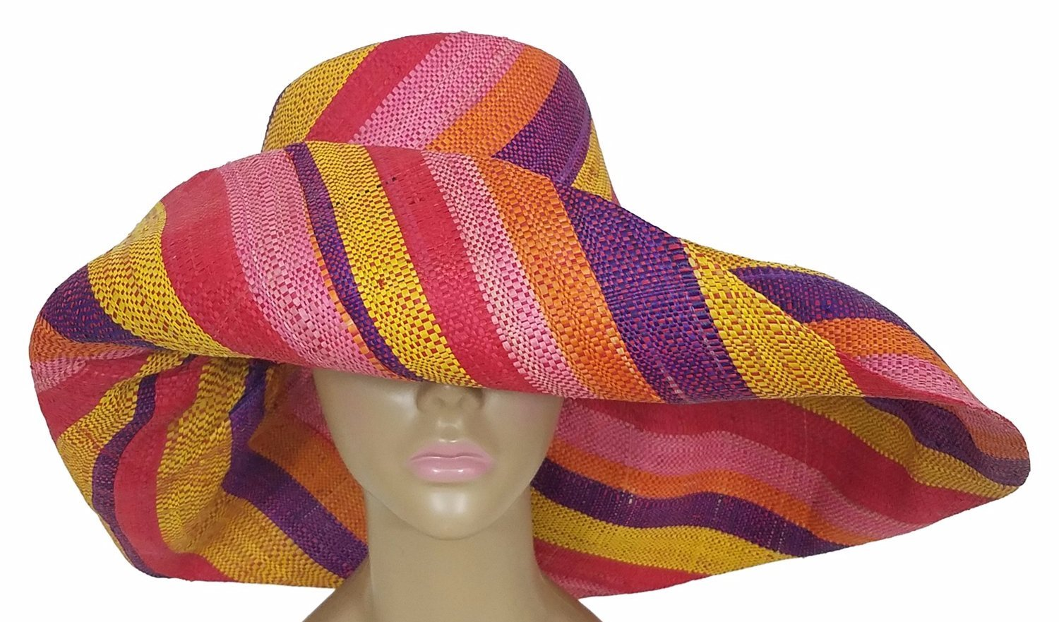 Akilah: Authentic African Hand Woven Multi-Color Madagascar Raffia Big Brim Sun Hat