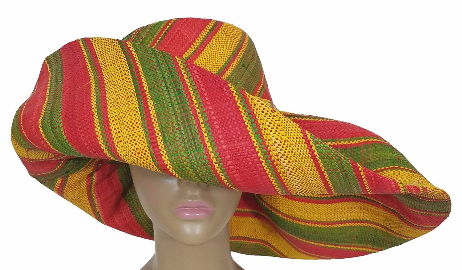 Akanke: Authentic African Hand Woven Multi-Color Madagascar Raffia Big Brim Sun Hat