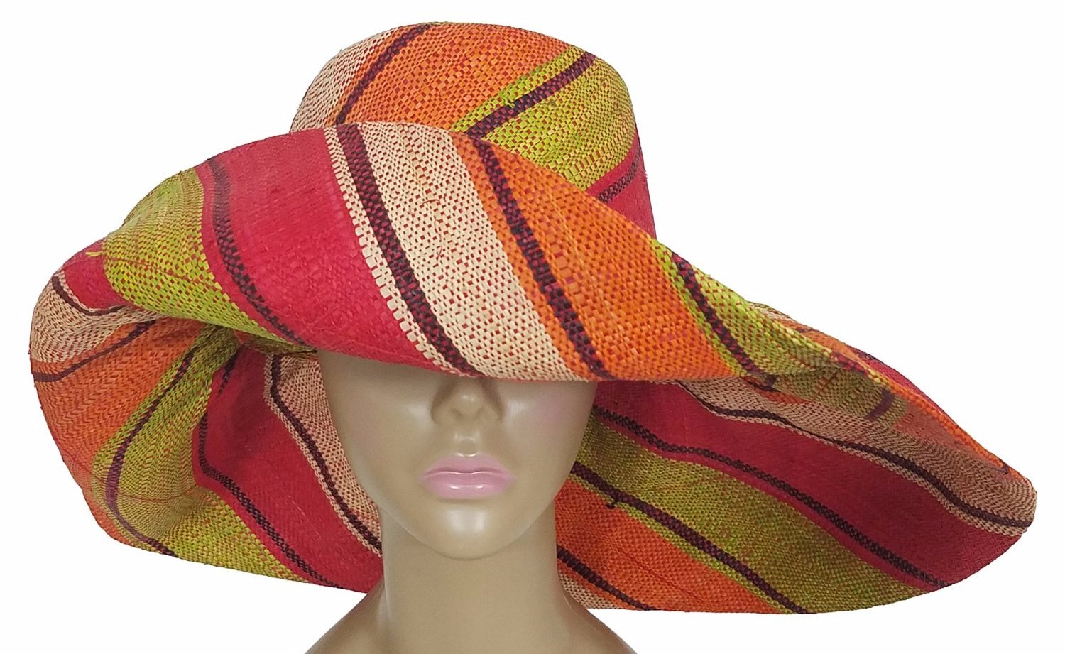 Aiyetoro: Authentic African Hand Woven Multi-Color Madagascar Big Brim Raffia Sun Hat