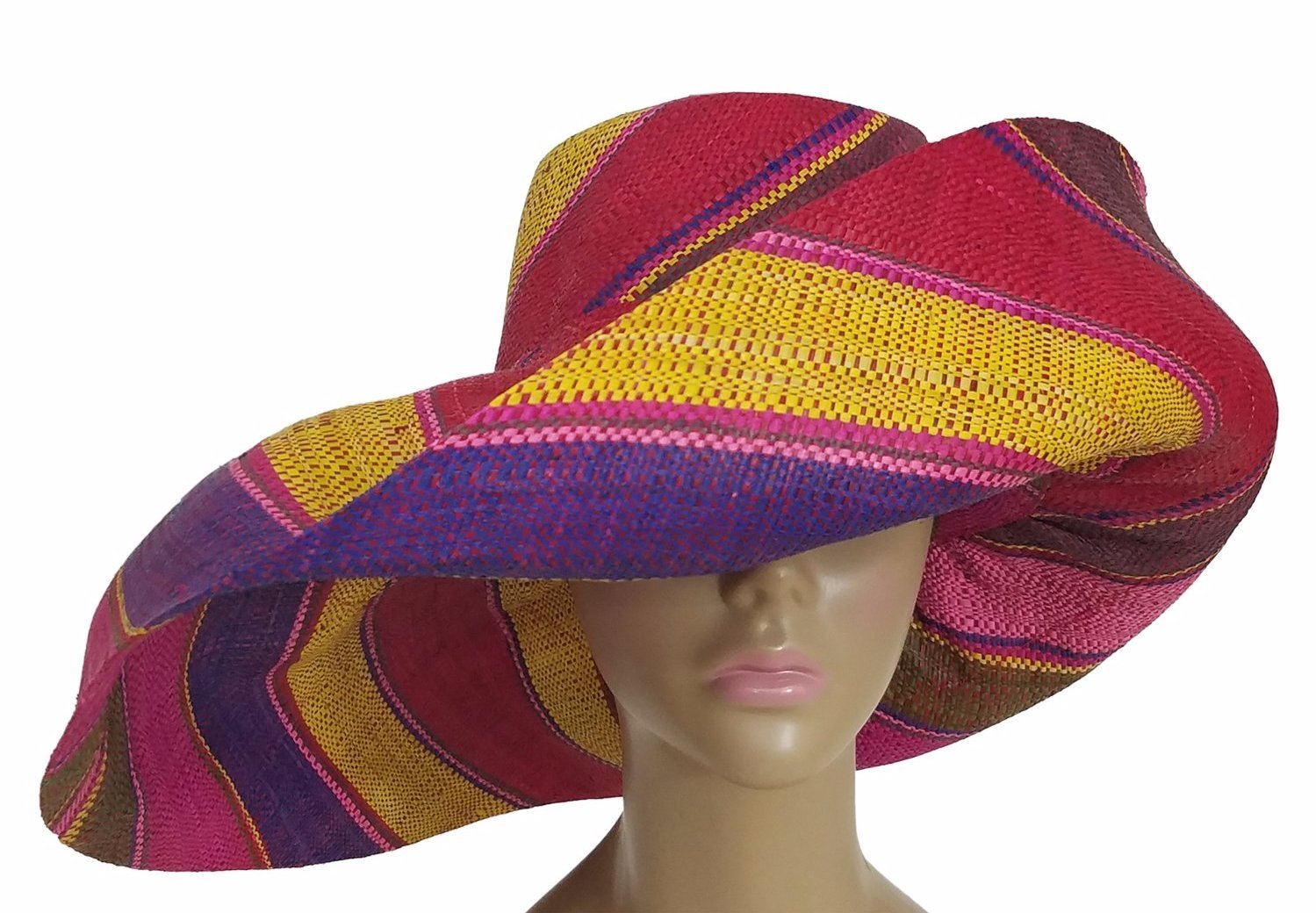 Aina: Authentic African Hand Woven Multi-Color Madagascar Raffia Big Brim Sun Hat
