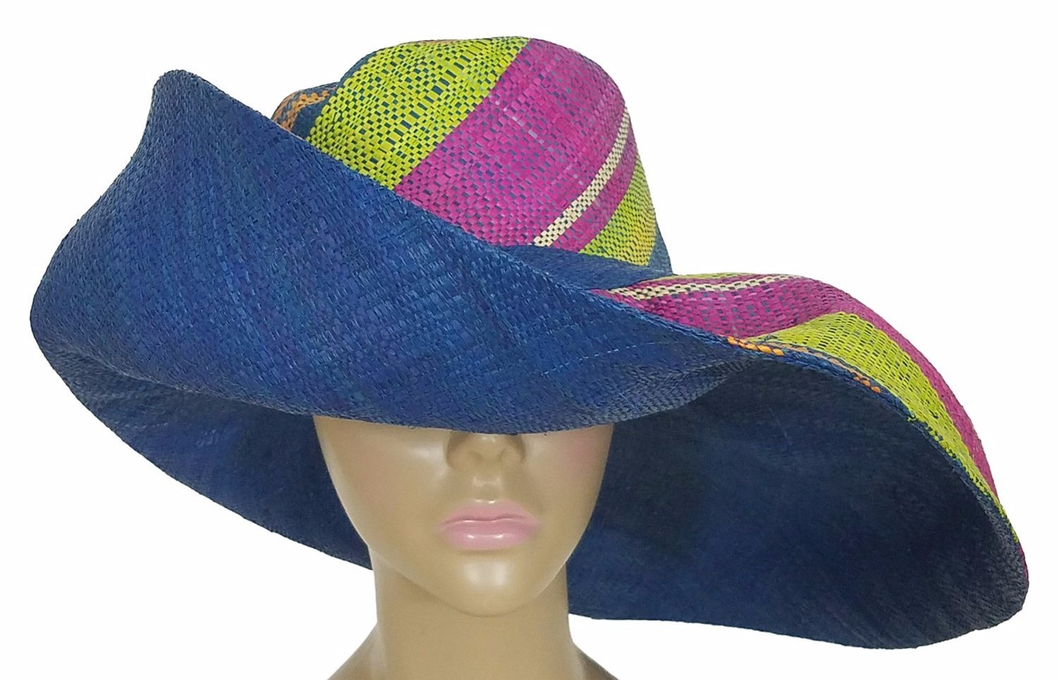 Baba: Authentic African Hand Woven Multi-Color Big Brim Raffia Sun Hat