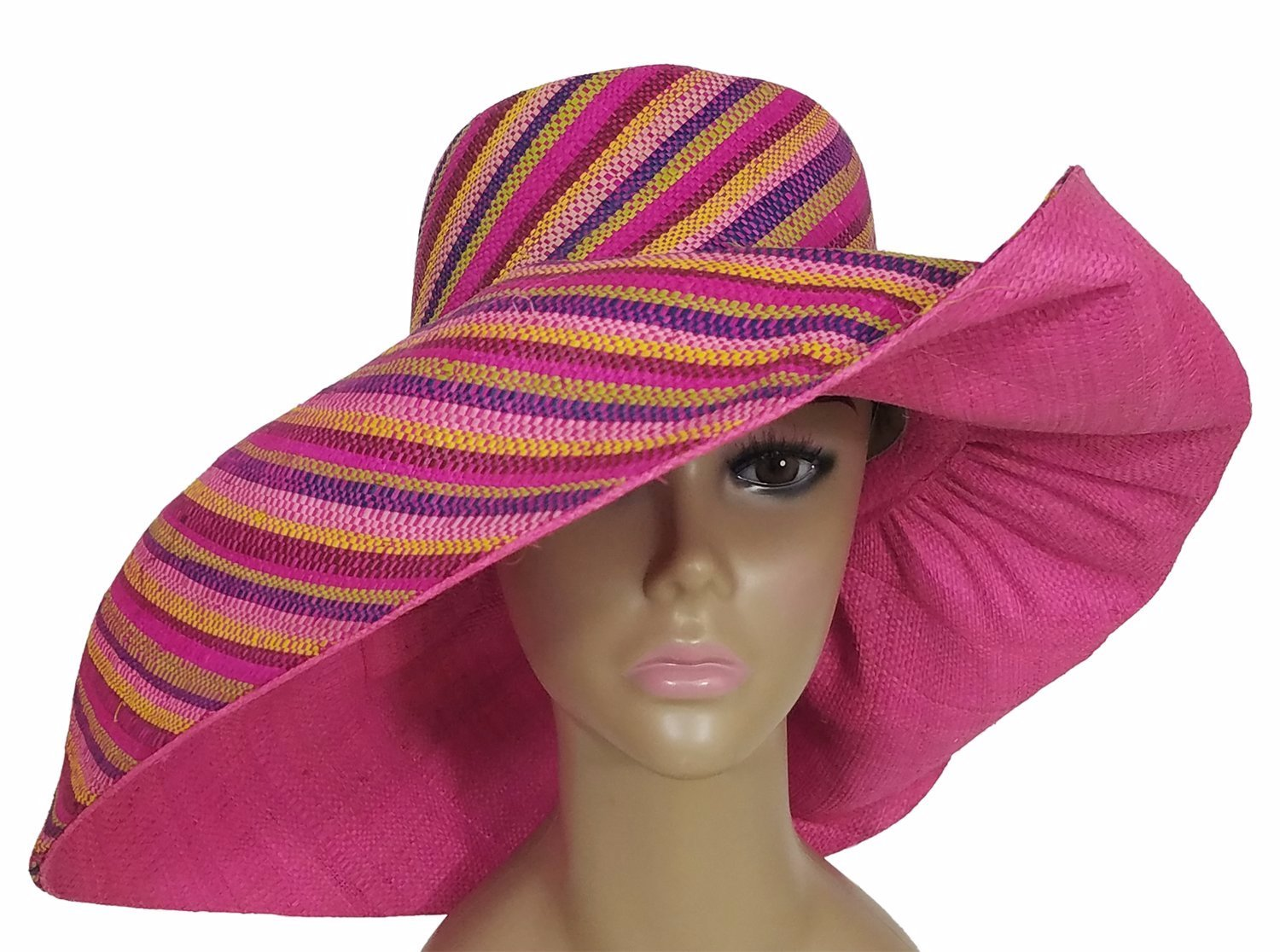 Baderinwa: Authentic African Hand Woven Multi-Color Madagascar Raffia Sun Hat