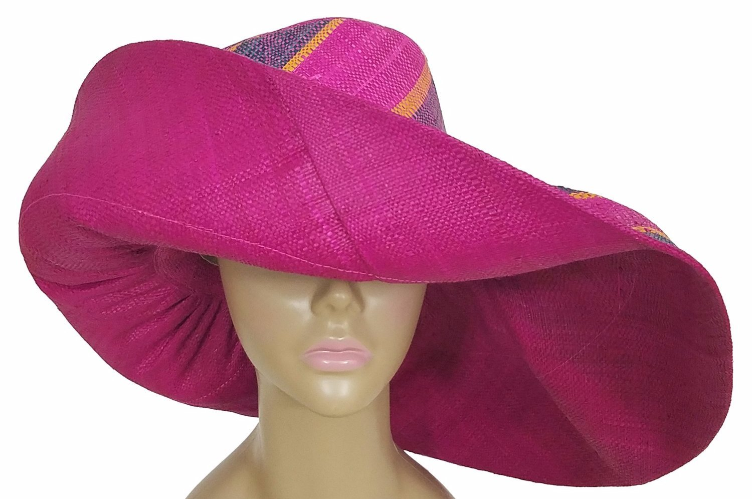 Bahati: Authentic African Hand Woven Multi-Color Madgascar Big Brim Raffia Sun Hat