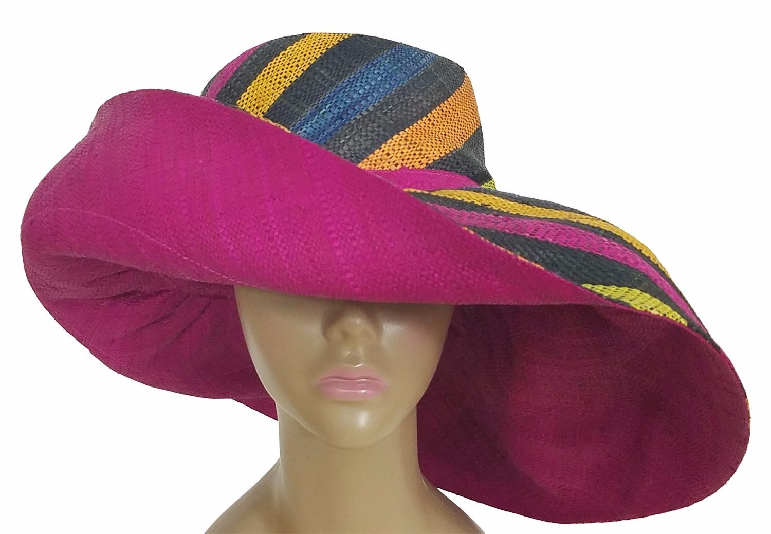 Barika: Authentic African Hand Woven Multicolored Madagascar Big Brim Raffia Sun Hat