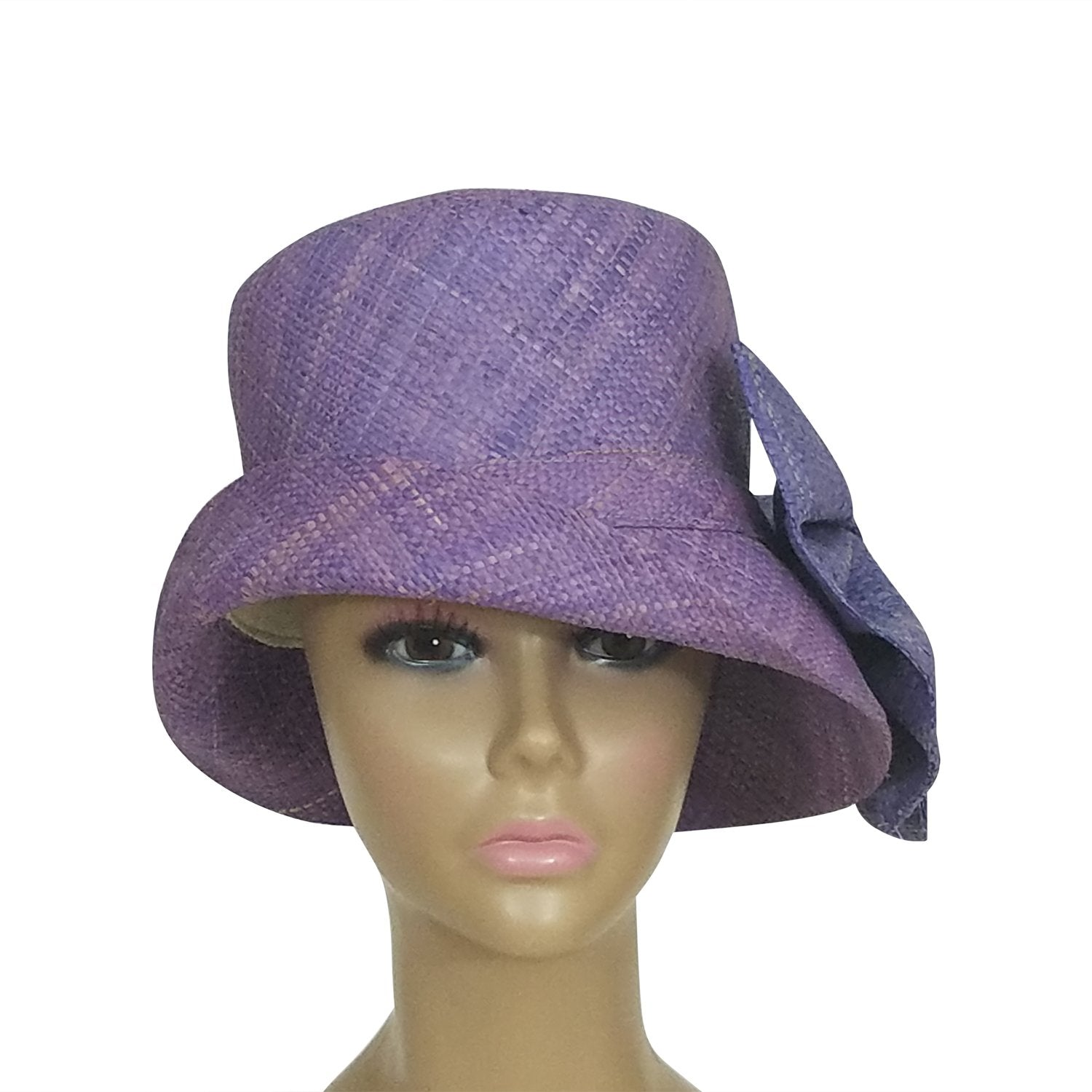 Abigay: Authentic African Hand Woven Lavender Madagascar Bell Shaped Raffia Hat with Bow