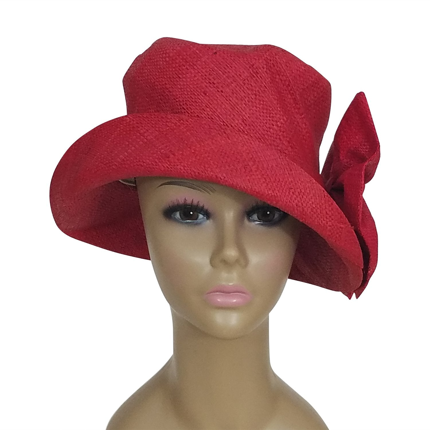 Eralia: Authentic African Hand Woven Red Madagascar Bell Shaped Raffia Hat with Bow