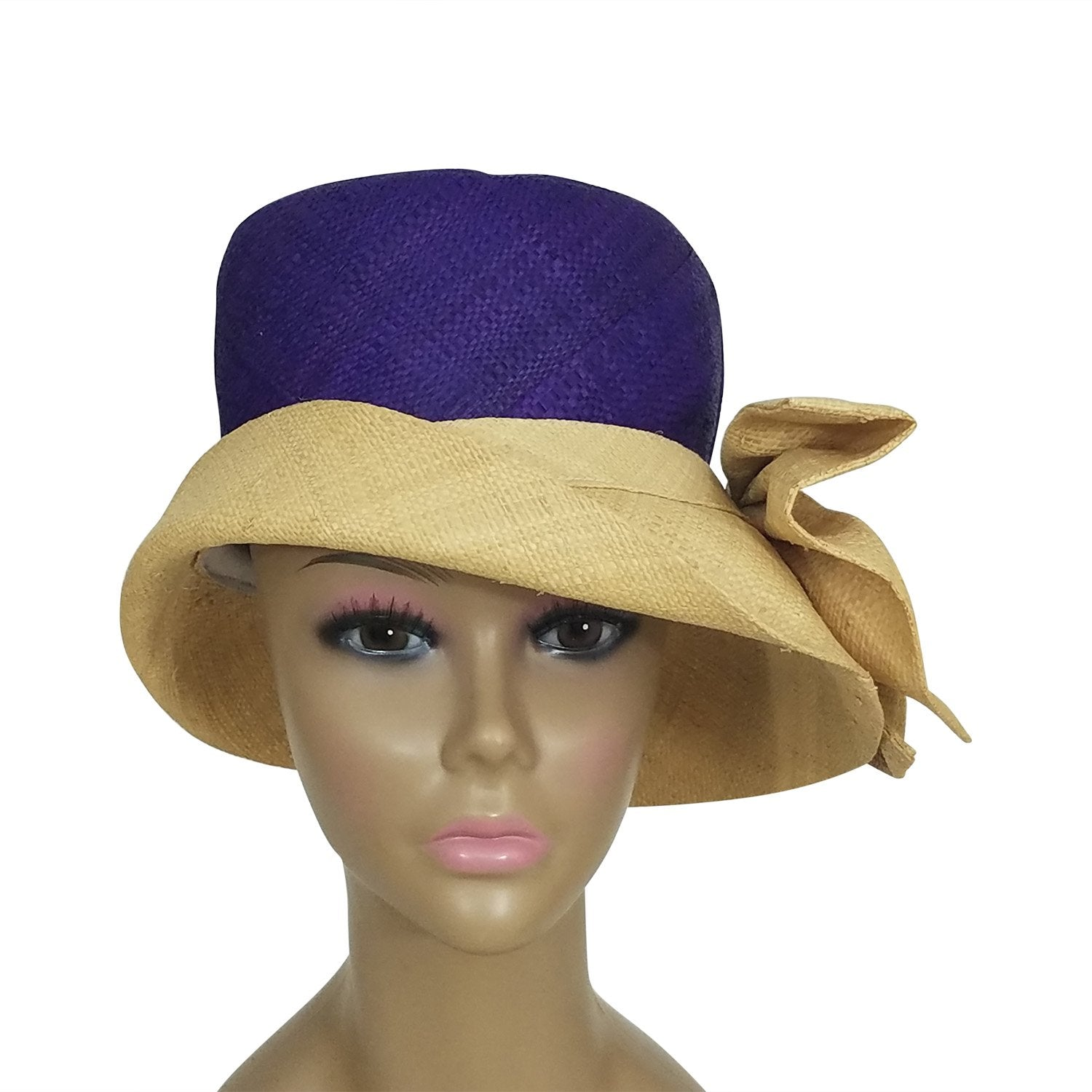 Ionie: Authentic African Hand Woven Purple and Natural Madagascar Bell Shaped Raffia Hat with Bow