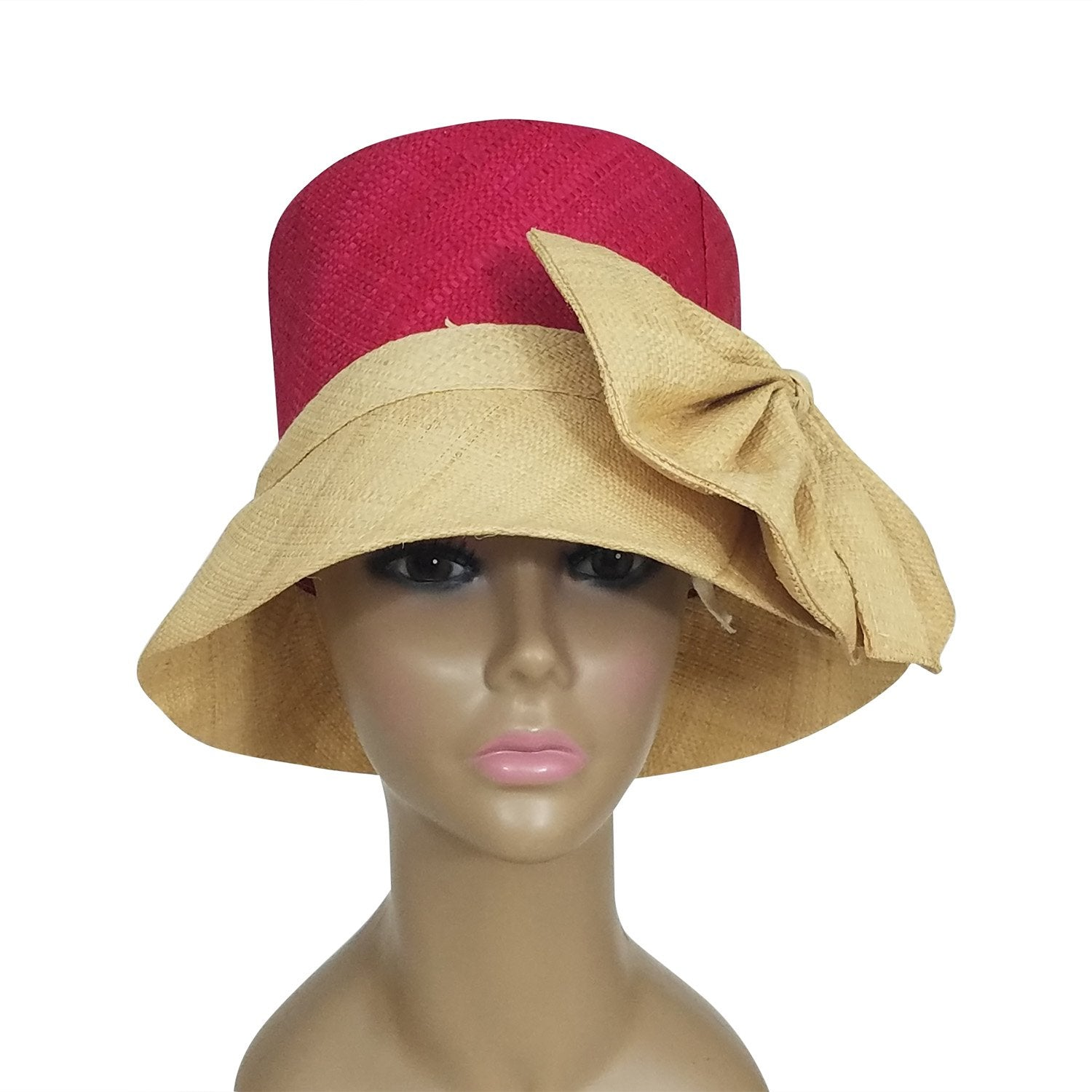 Dellyse: Authentic African Hand Woven Fuchsia and Natural Madagascar Bell Shaped Raffia Hat with Bow