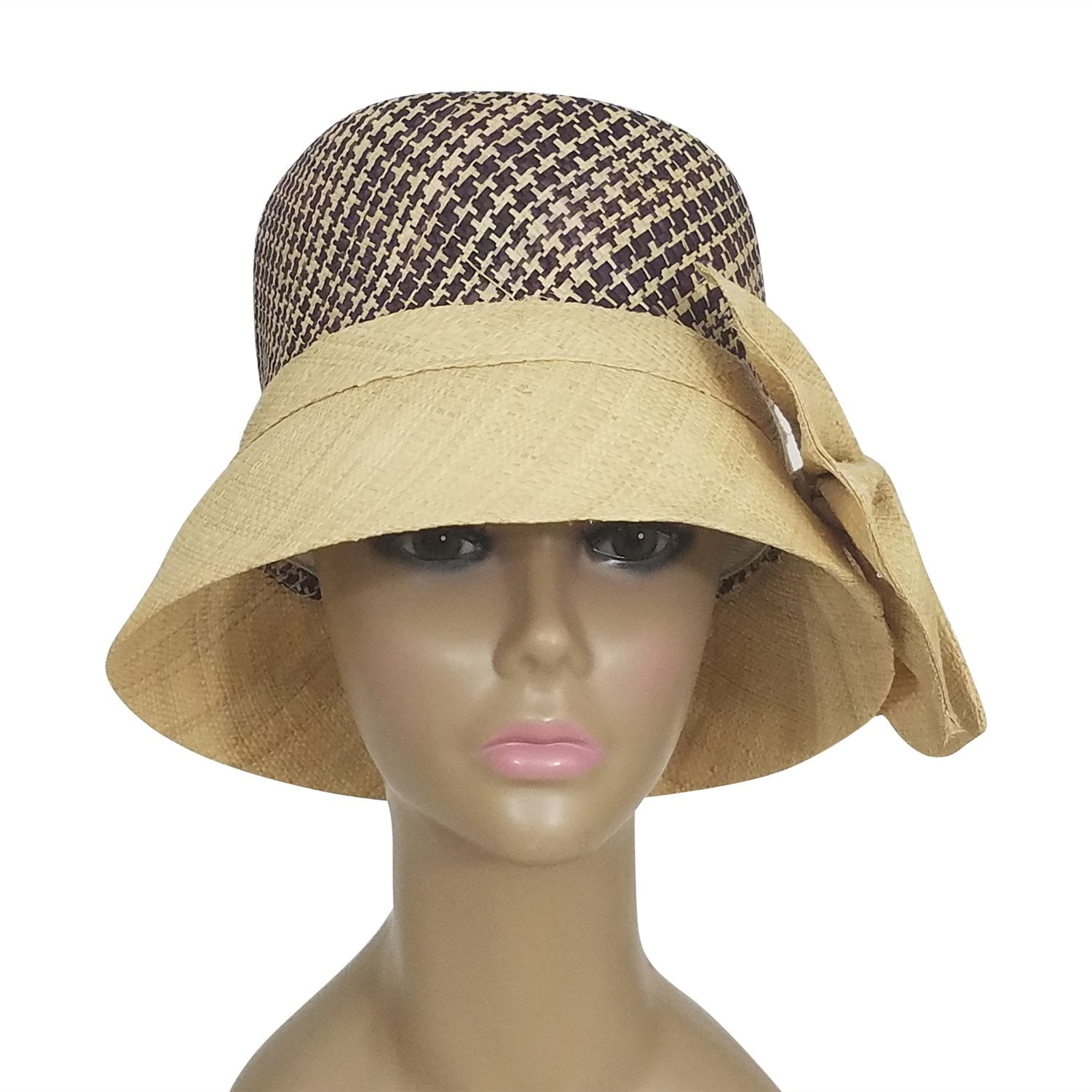 Chandice: Authentic African Hand Woven Wine and Natural Braided Madagscar Bell Shaped Raffia Hat with Bow