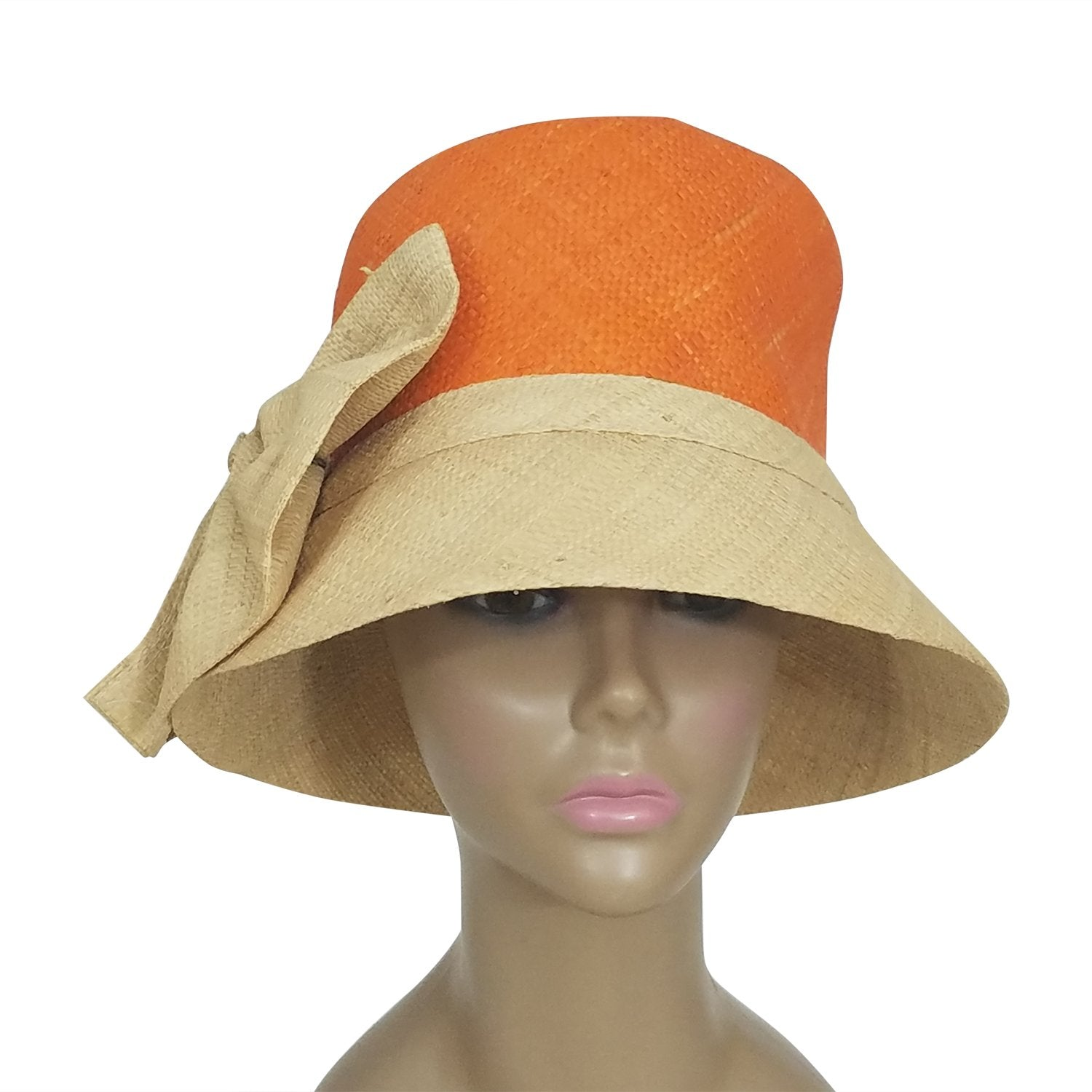 Cedella: Authentic African Hand Woven Orange and Natural Madagascar Bell Shaped Raffia Hat with Bow