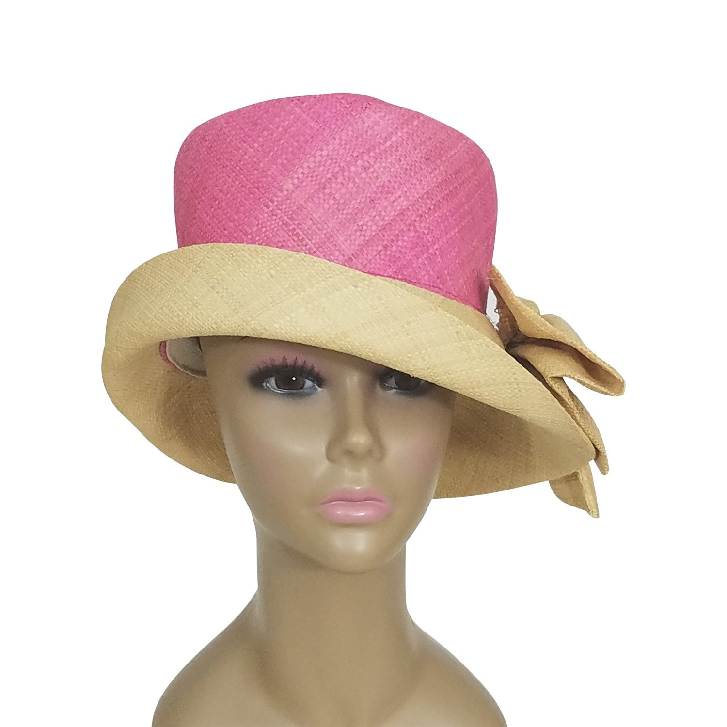 Azacca: Authentic African Hand Woven Pink and Natural Madagascar Bell Shaped Raffia Hat with Bow