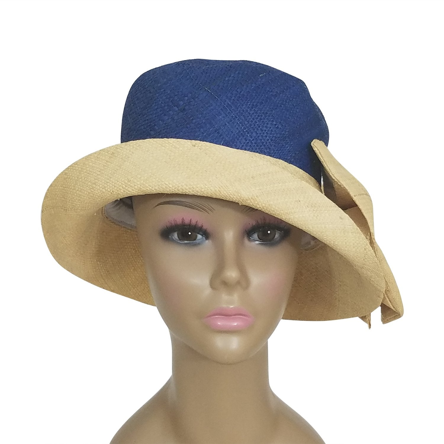 Apce: Authentic African Hand Woven Blue and Natural Madagascar Bell Shaped Raffia Hat with Bow