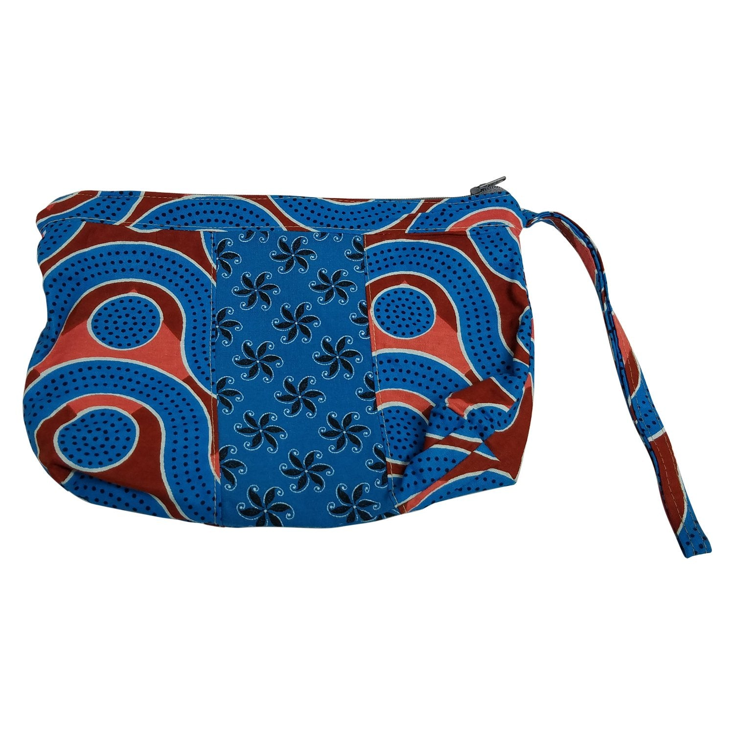 Big Bend: African Fabric Cosmetic/Make-Up Bag/Wristlet by Timbali Crafts