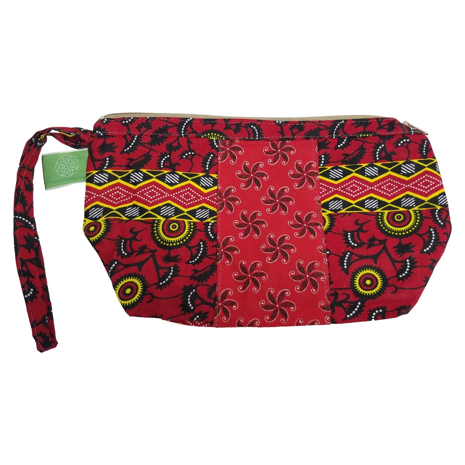 Mbabane: Authentic African Wax Print Fabric Cosmetic/Make-up Bag/Wristlet