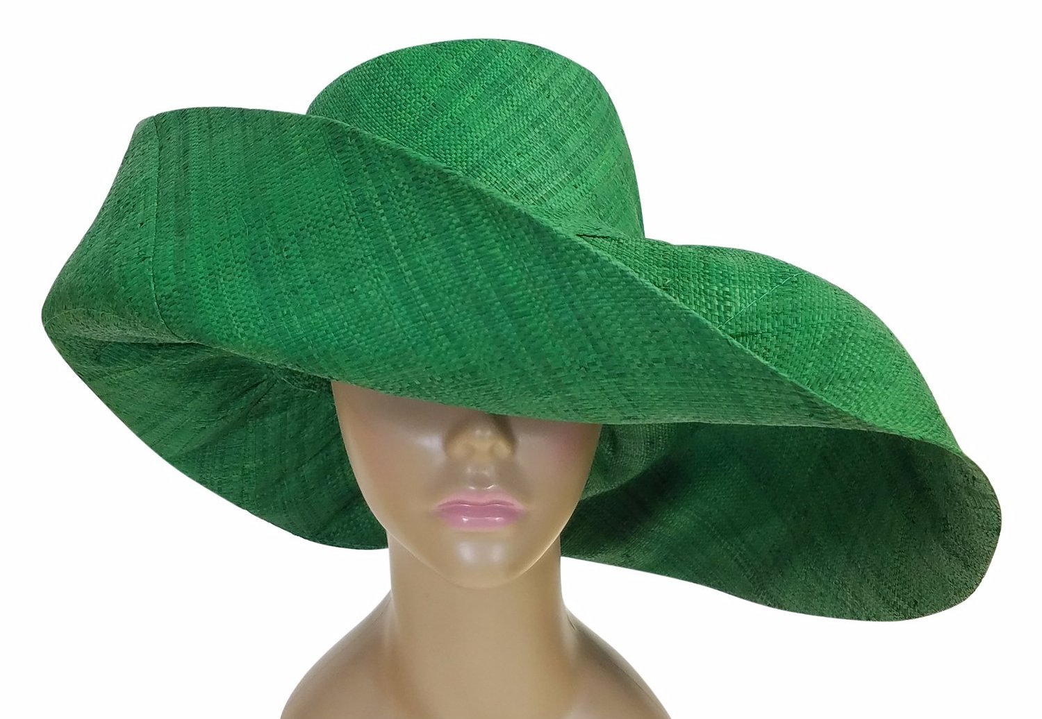 Tusajigwe: Authentic African Hand Made Green Madagascar Big Brim Raffia Sun Hat