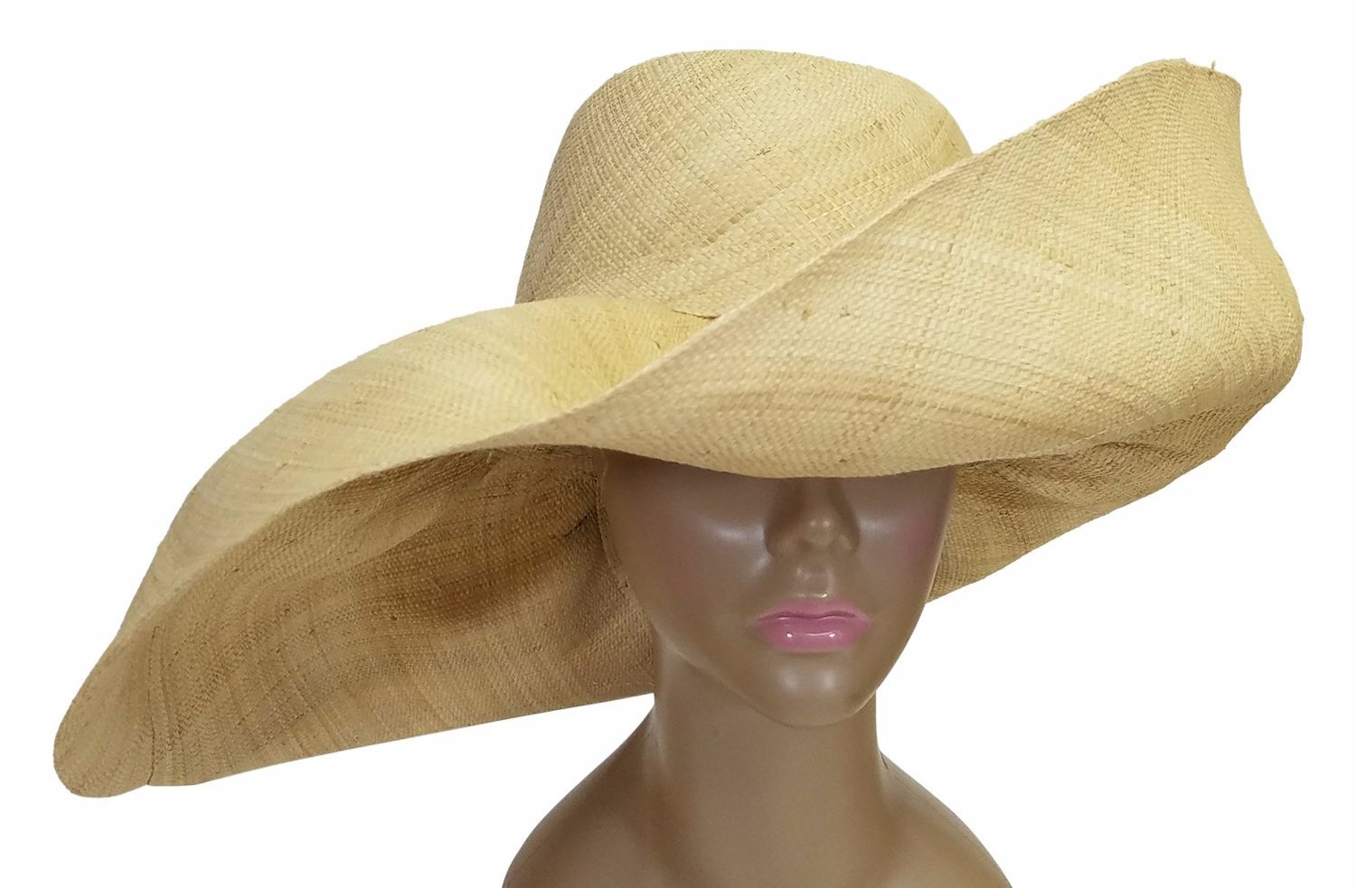 Adamma: Authentic African Hand Made Natural Madagascar Big Brim Raffia Sun Hat