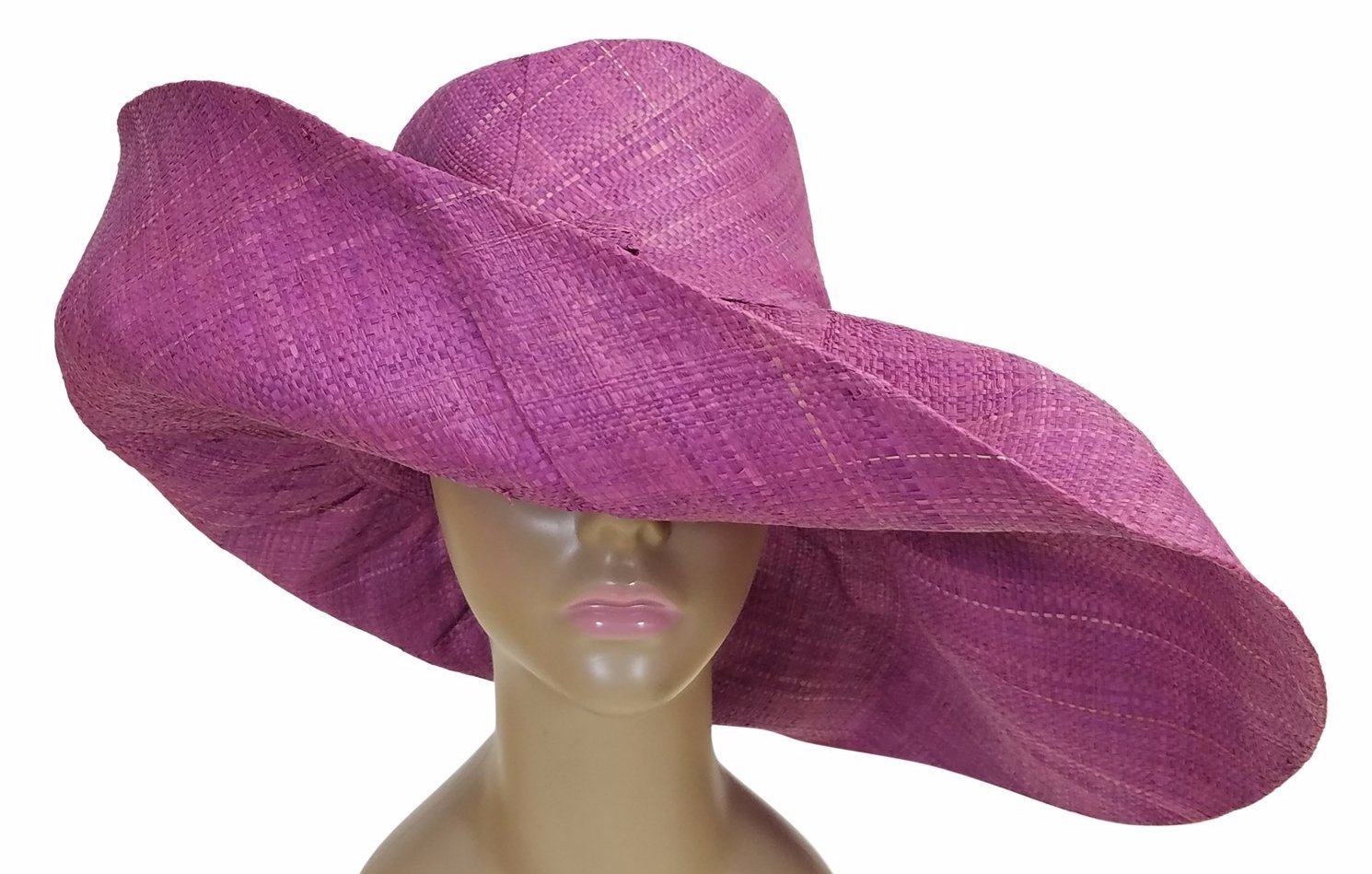 Tulinagwe: Authentic African Hand Made Lavender Madagascar Big Brim Raffia Sun Hat