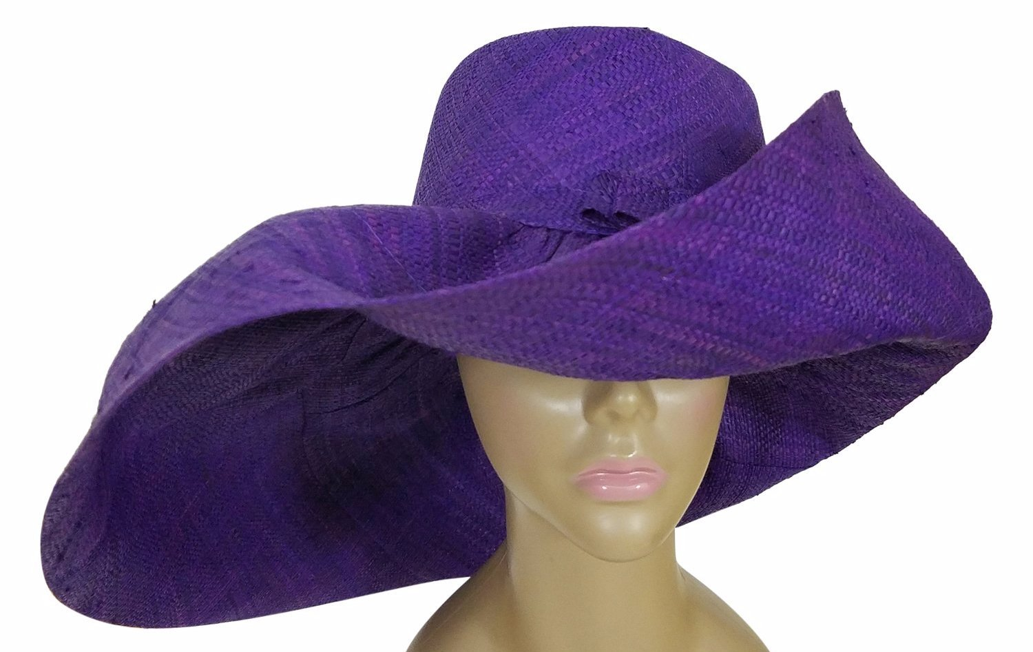 Abeke: Authentic African Hand Woven Purple Madagascar Big Brim Raffia Sun Hat